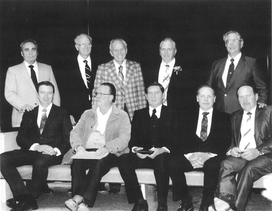 Courtesy John Llelwellyn Standing left to right: Orman Lavery (deceased), Owen A. Allred, Marvin Allred (deceased), Joseph Thompson (deceased), Bill Baird (deceased). Sitting left to right: Lynn Thompson, George Maycock (excommunicated), J. LaMoine Jenson, Marvin Jessop, Morris Jessop